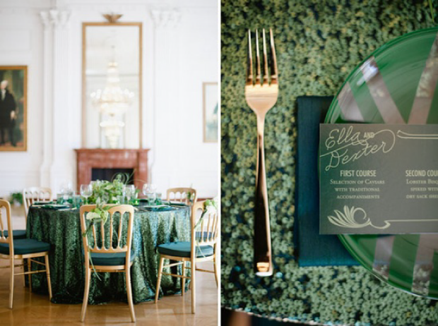 Emerald & Gold Table Setting