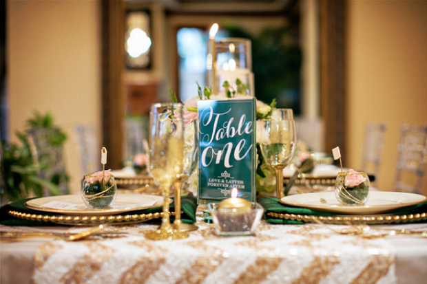 champagne and gold wedding  table top