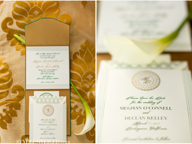 Gold and Green Wedding Card